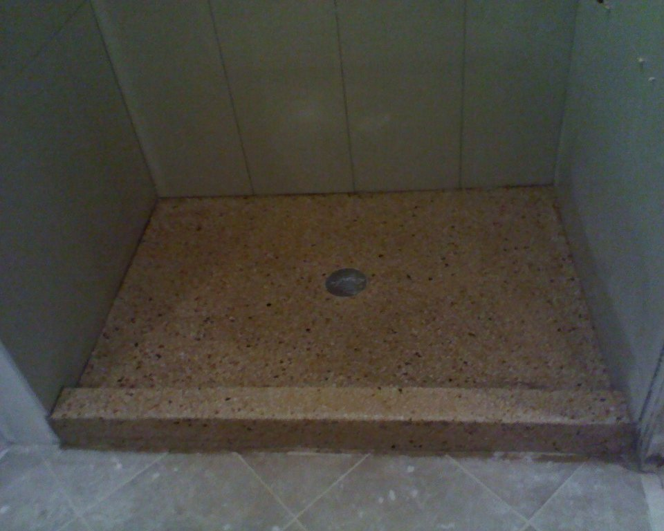 how to cut concrete for shower base